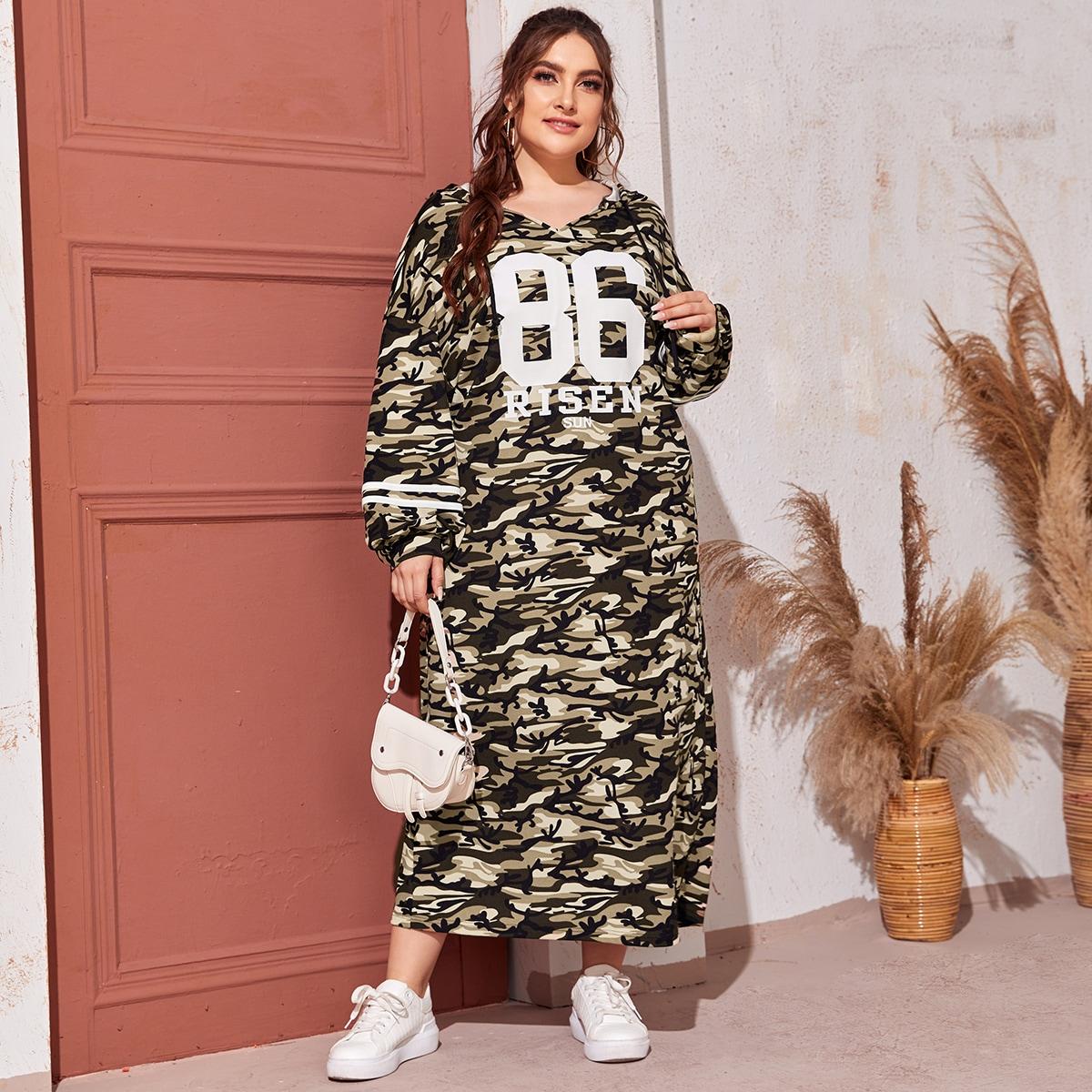 Платье размера плюс с капюшоном, камуфляжным и текстовым принтом