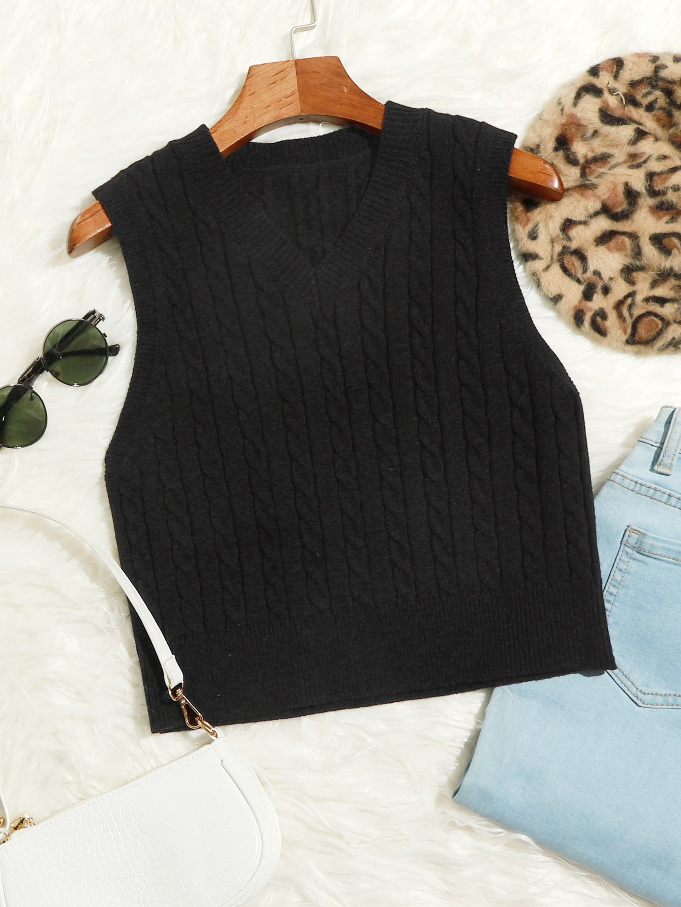 Cable Knit Cropped Sweater Vest thumbnail