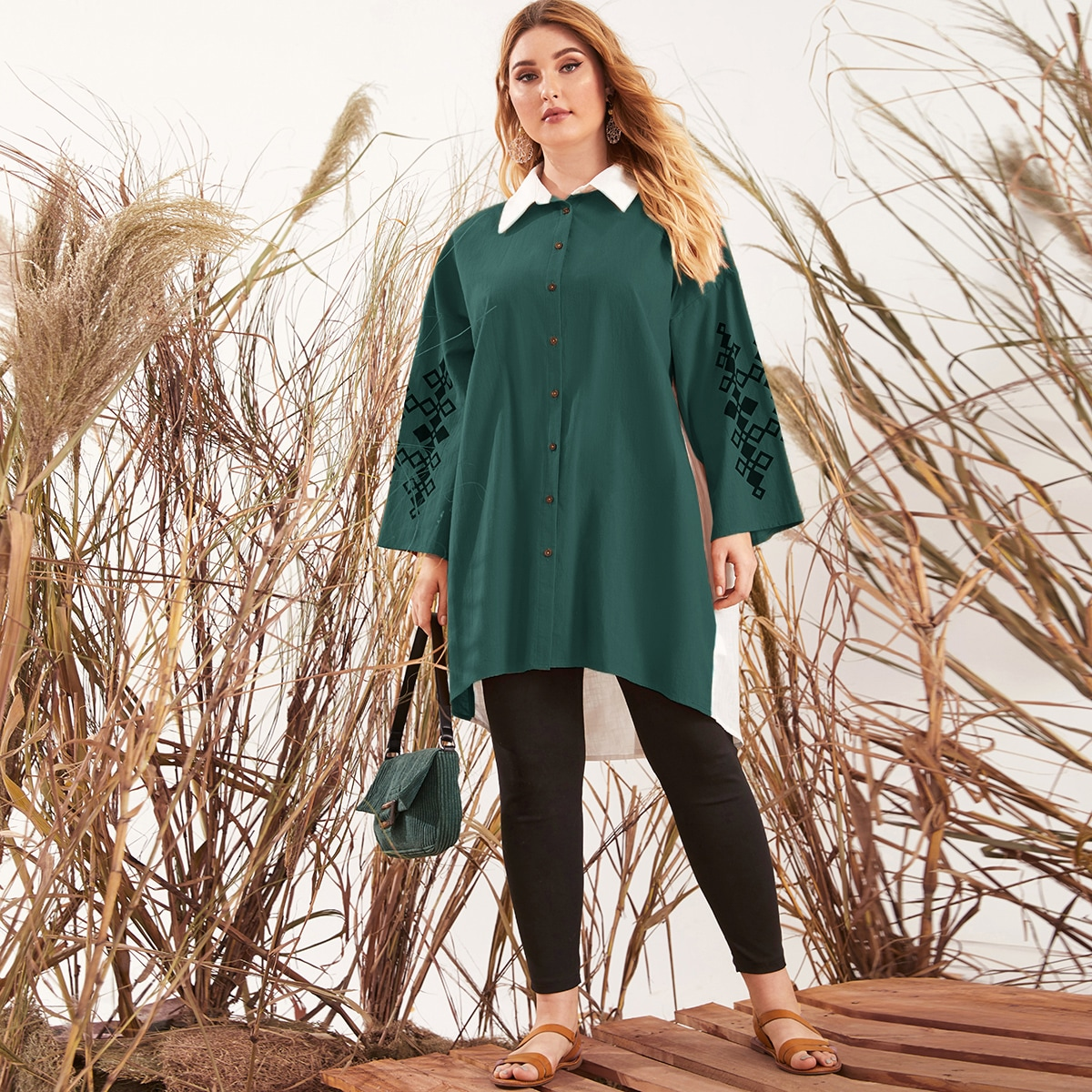 Контрастный воротник геометрический повседневный блузы размер плюс