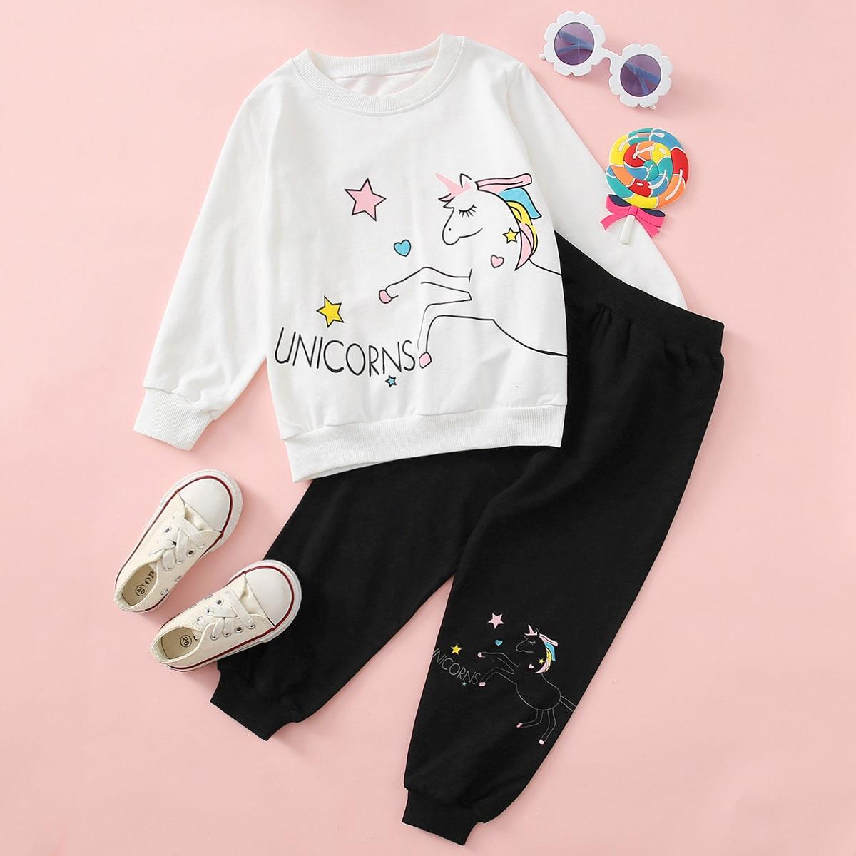 Спортивные брюки и свитшот с принтом единорога для девочек