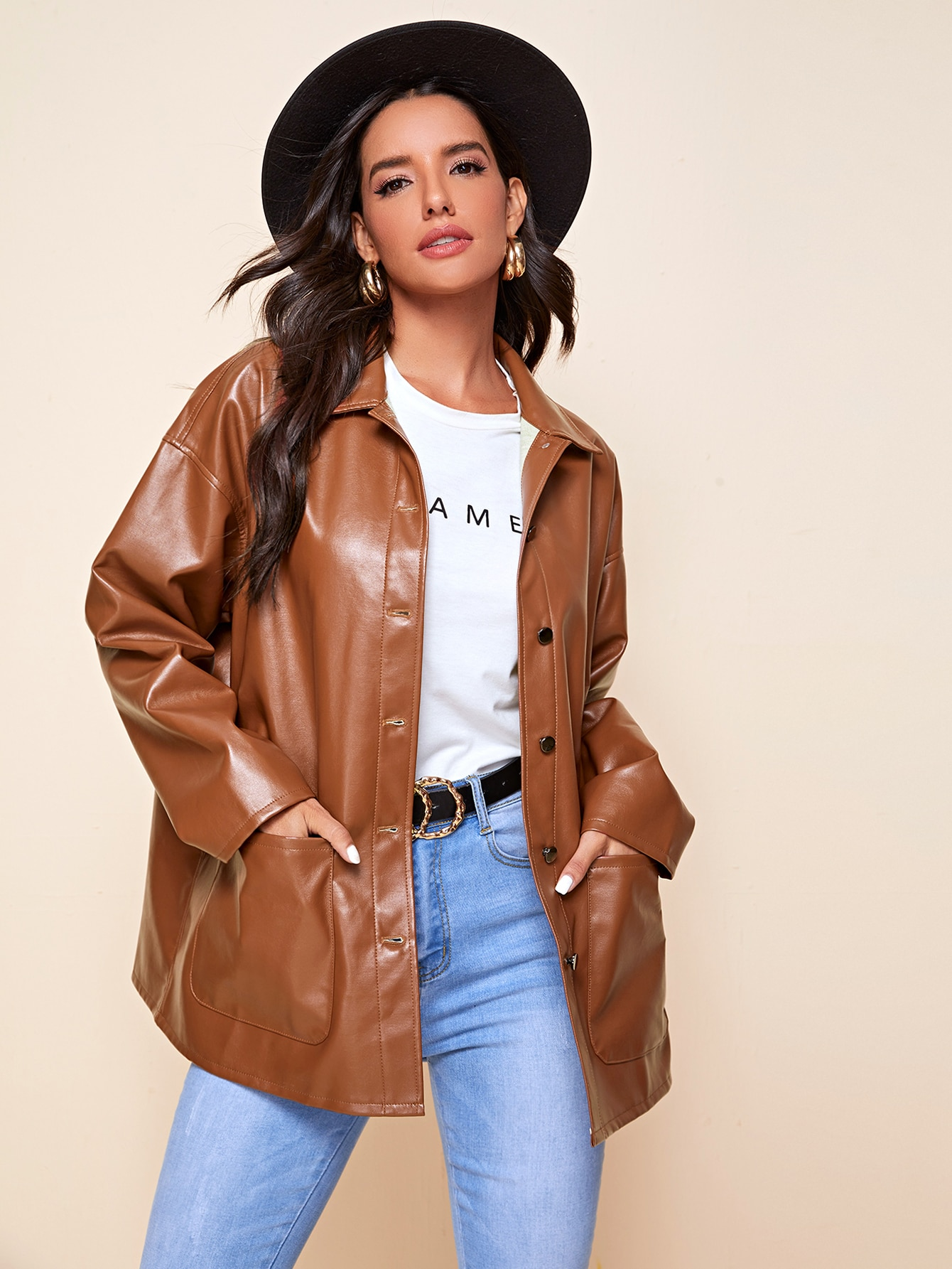 Single Breasted Patch Pocket PU Leather Coat thumbnail