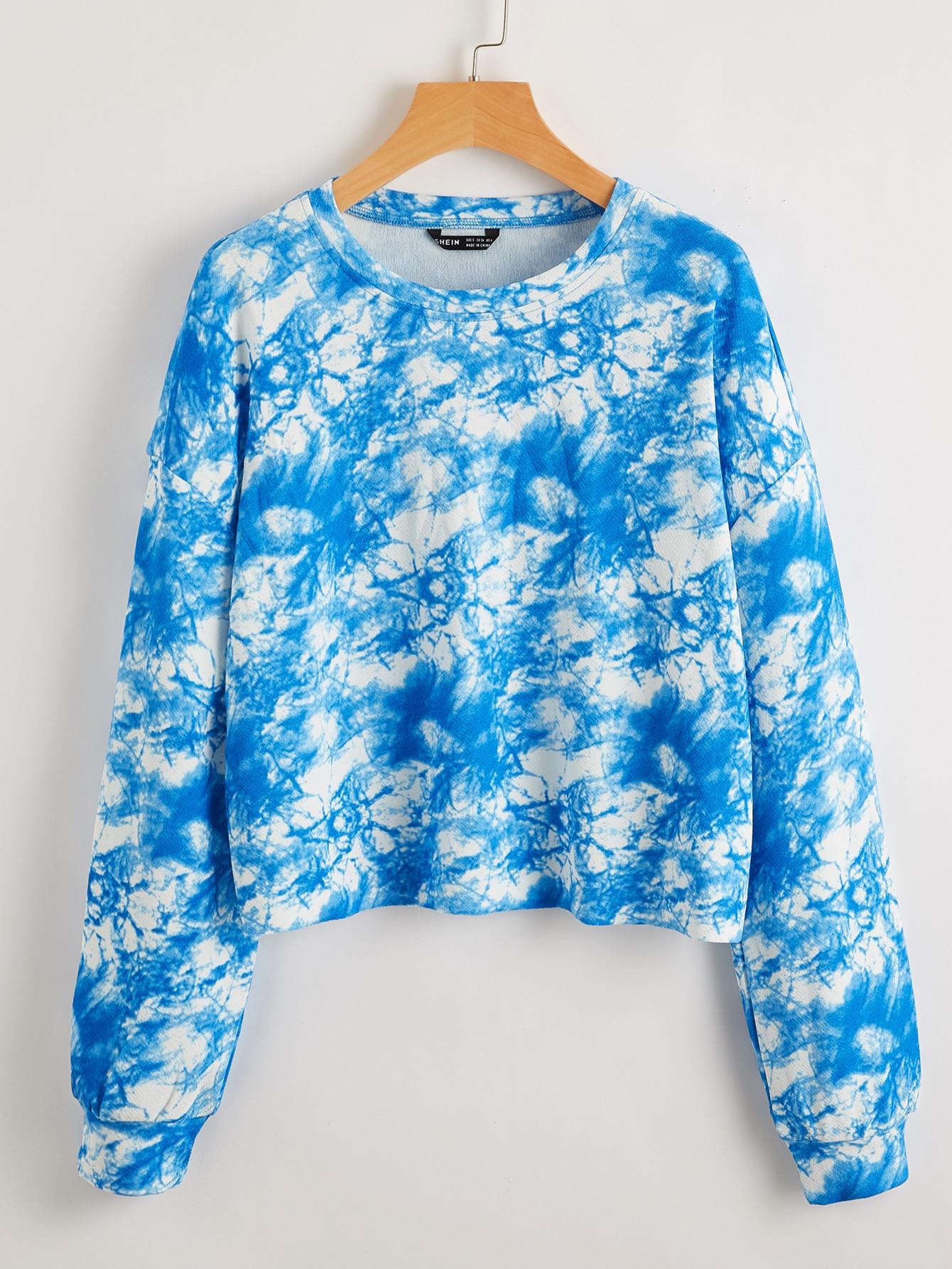 Drop Shoulder Tie Dye Crop Pullover thumbnail