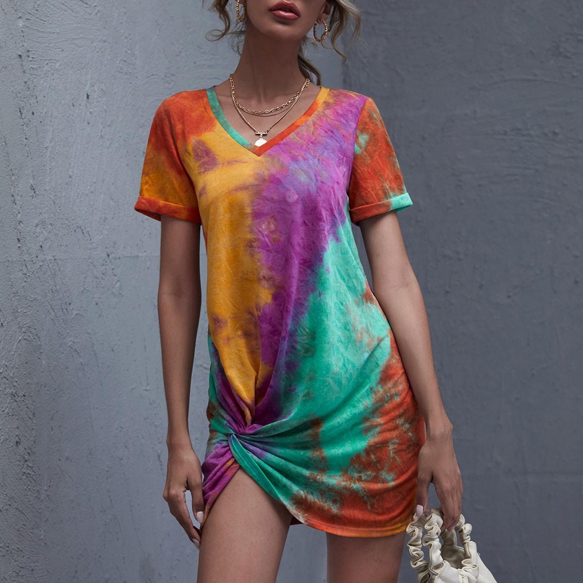 V-neck Twist Hem Tie Dye Dress
