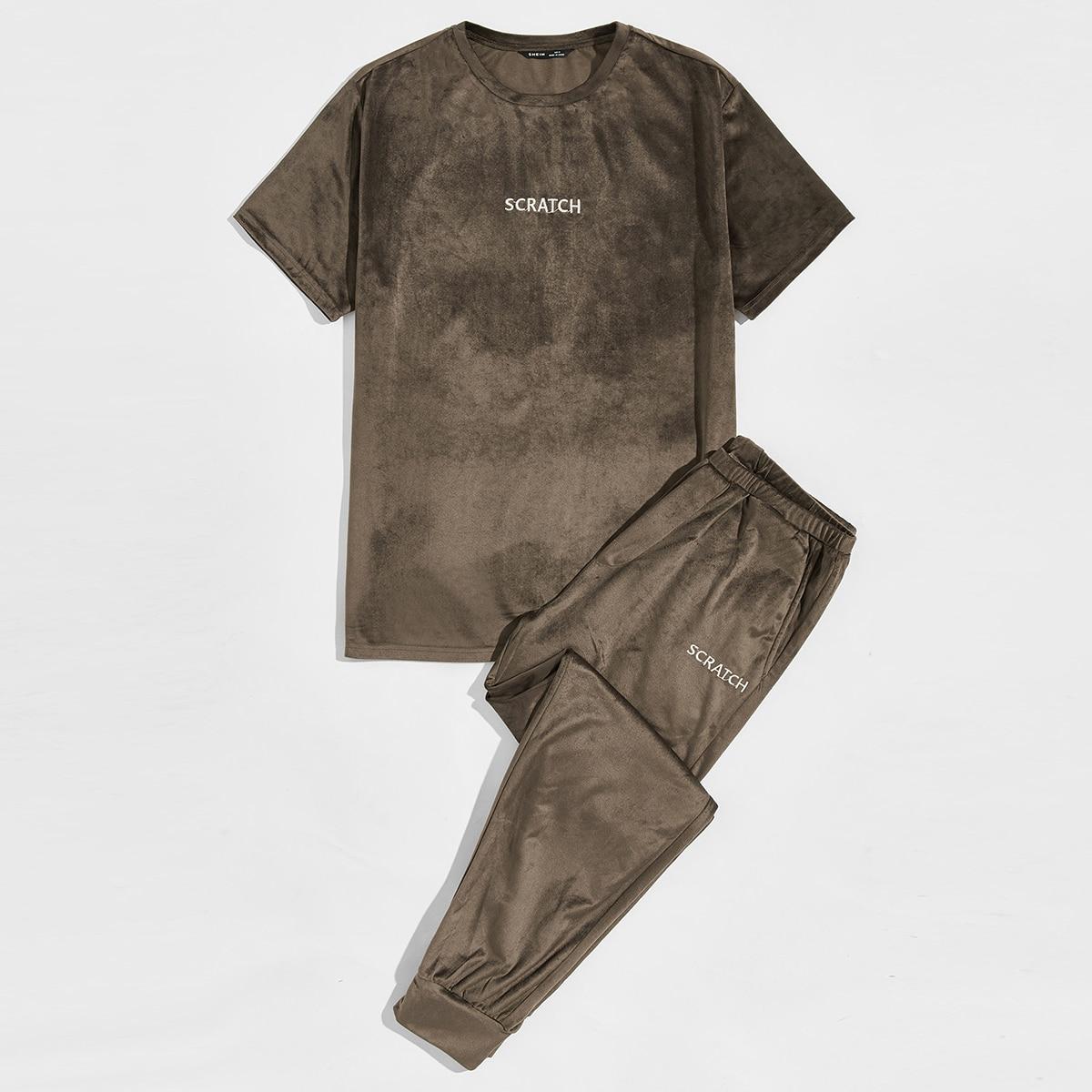 Мужские бархатные брюки и футболка с вышивкой