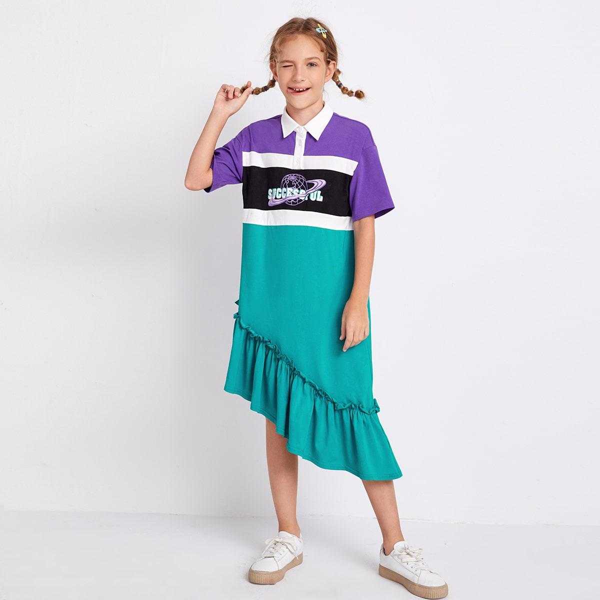 Асимметричное контрастное платье-поло со смешанным принтом для девочек