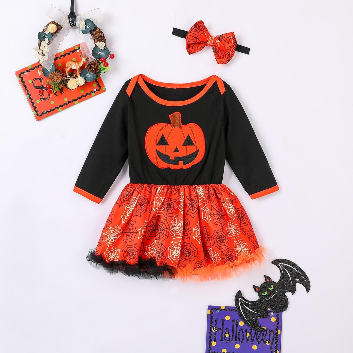 Хэллоуин платье-боди с вышивкой и повязка на голову для девочек