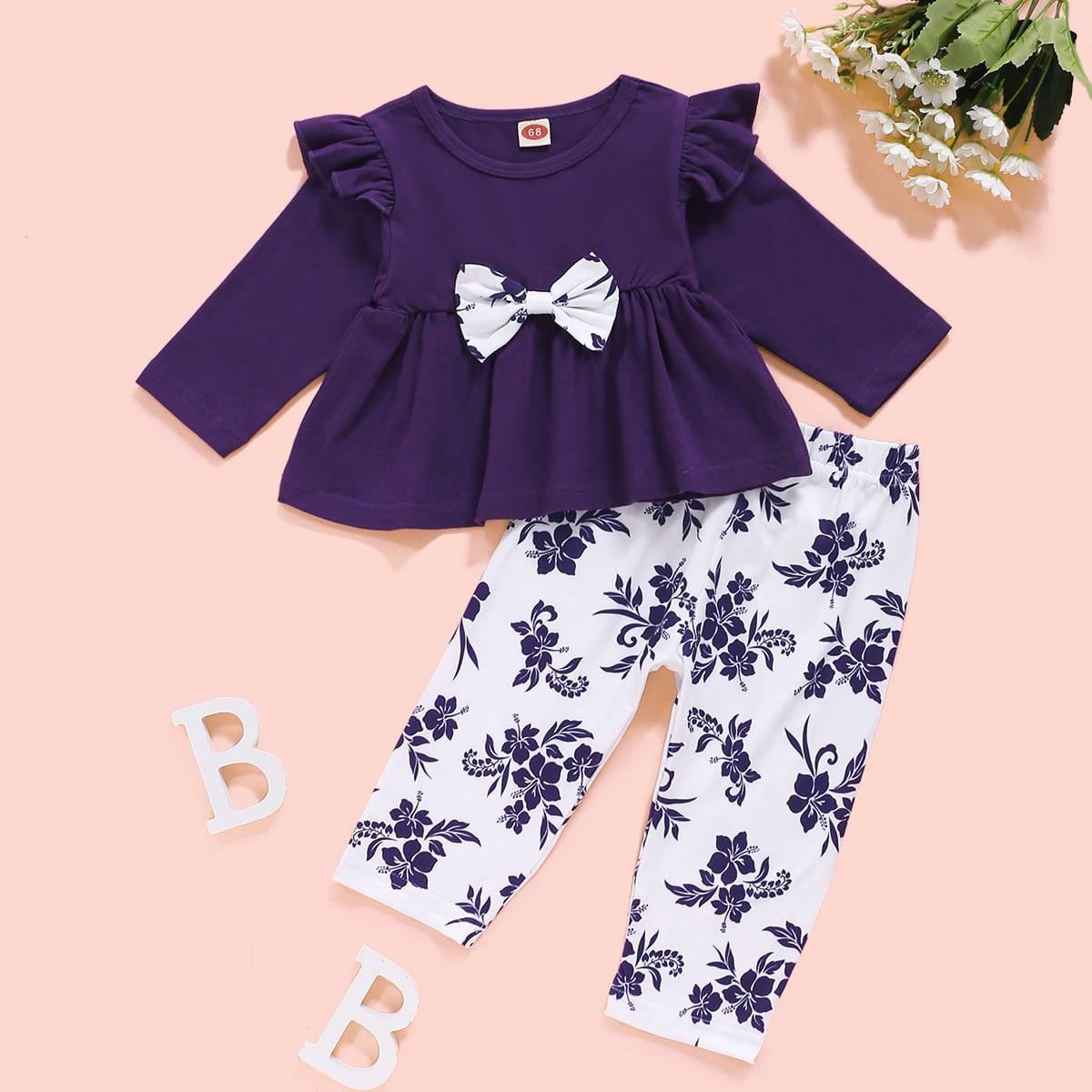 T-Shirt mit Schleife vorn, Schößchen & Leggings mit Blumen Muster