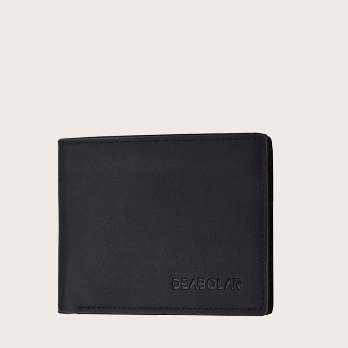 Мужской кошелек с текстовым принтом и держателем для карты