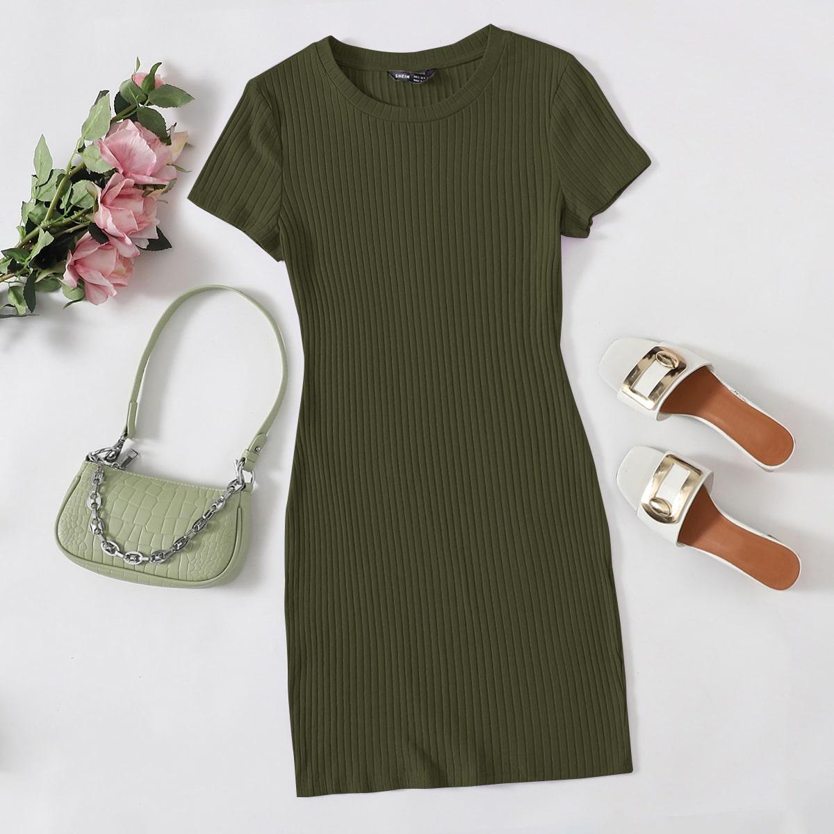 Однотонное вязаное платье SheIn swdress07200813073