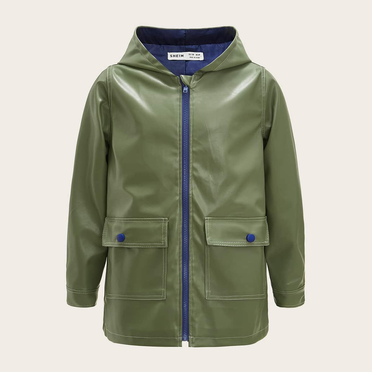 Пальто из искусственной кожи с карманом для мальчиков