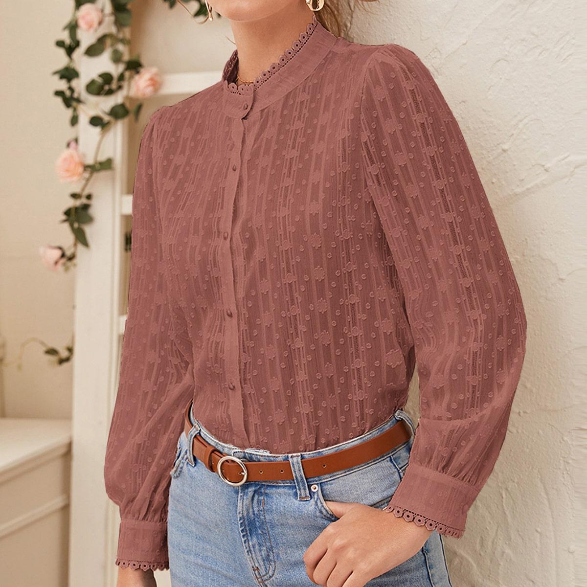 Прозрачная блуза на пуговицах с кружевной отделкой