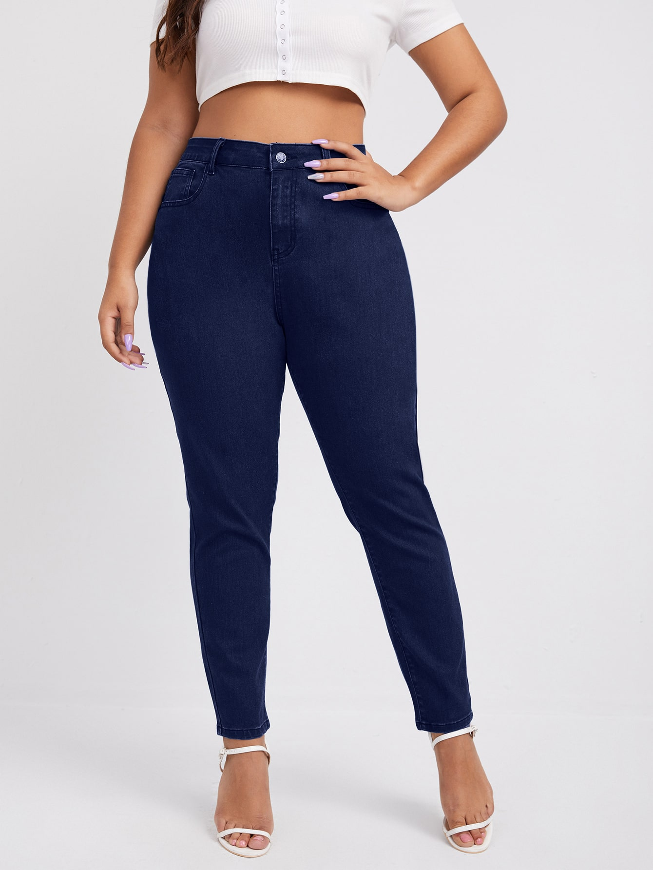 Plus High Waist Skinny Jeans Without Belt thumbnail