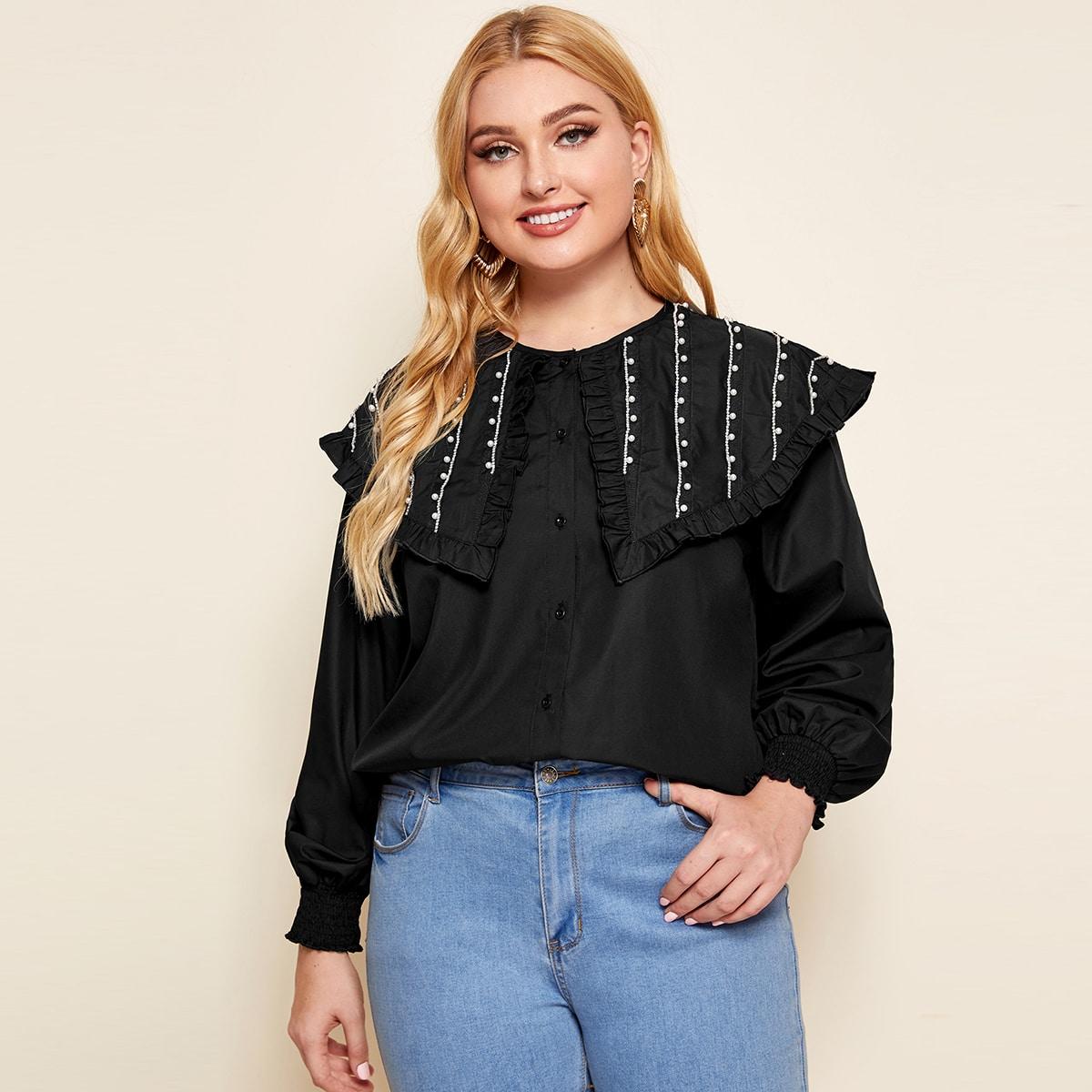 Блуза размера плюс с жемчугом