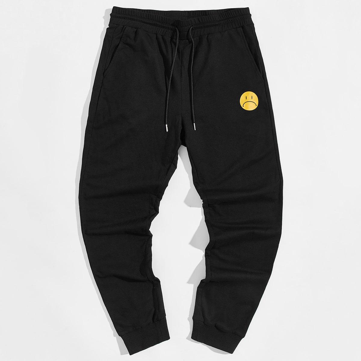 Мужские спортивные брюки на кулиске с мультипликационным рисунком