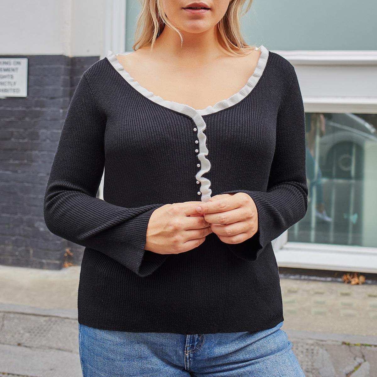С жемчугом контрастный цвет повседневный свитер размер плюс