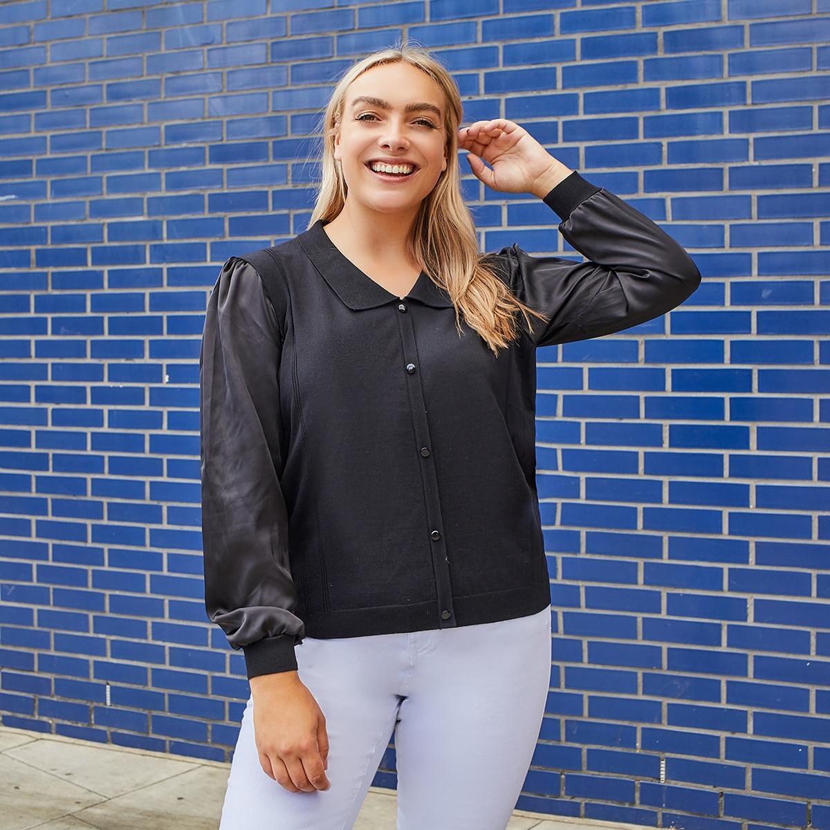 Однобортный одноцветный повседневный свитер размер плюс