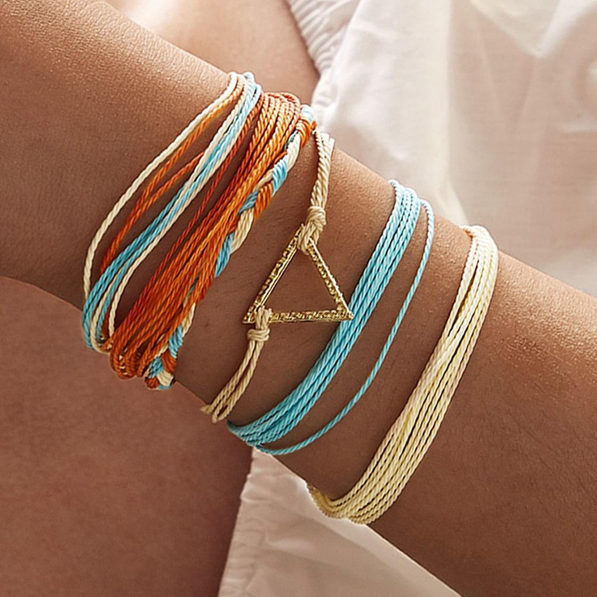 Geometric Decor String Bracelet 6pcs