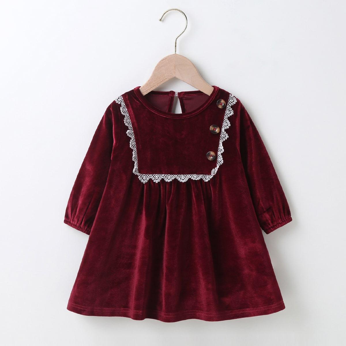 на пуговицах Контрастный цвет милый Платья для малышей от SHEIN