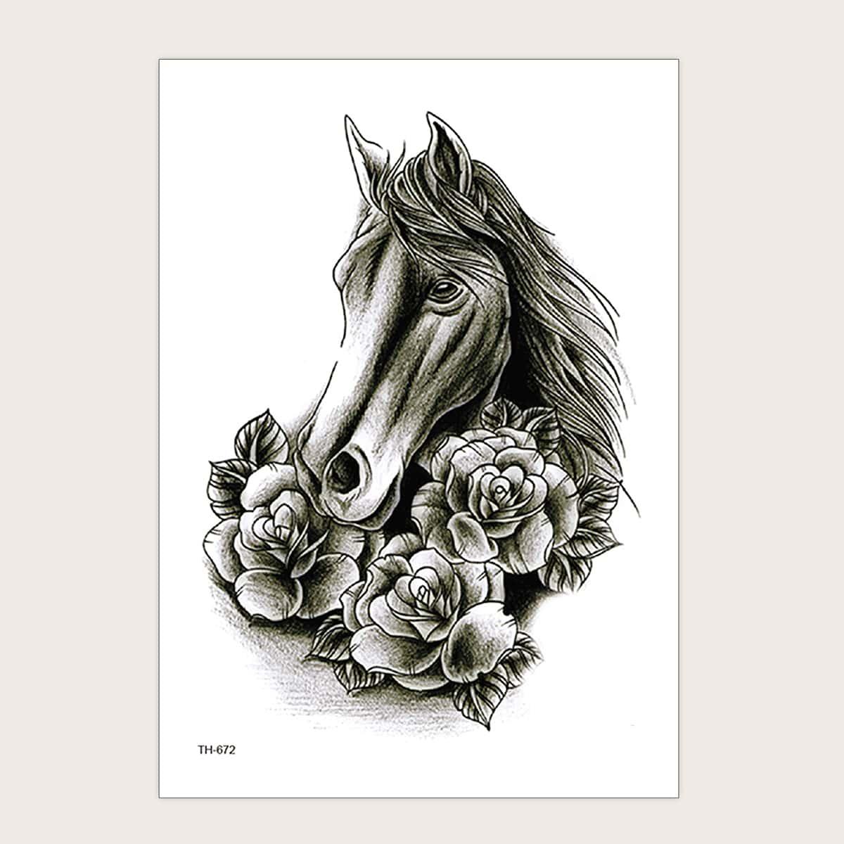Horse & Floral Pattern Tattoo Sticker