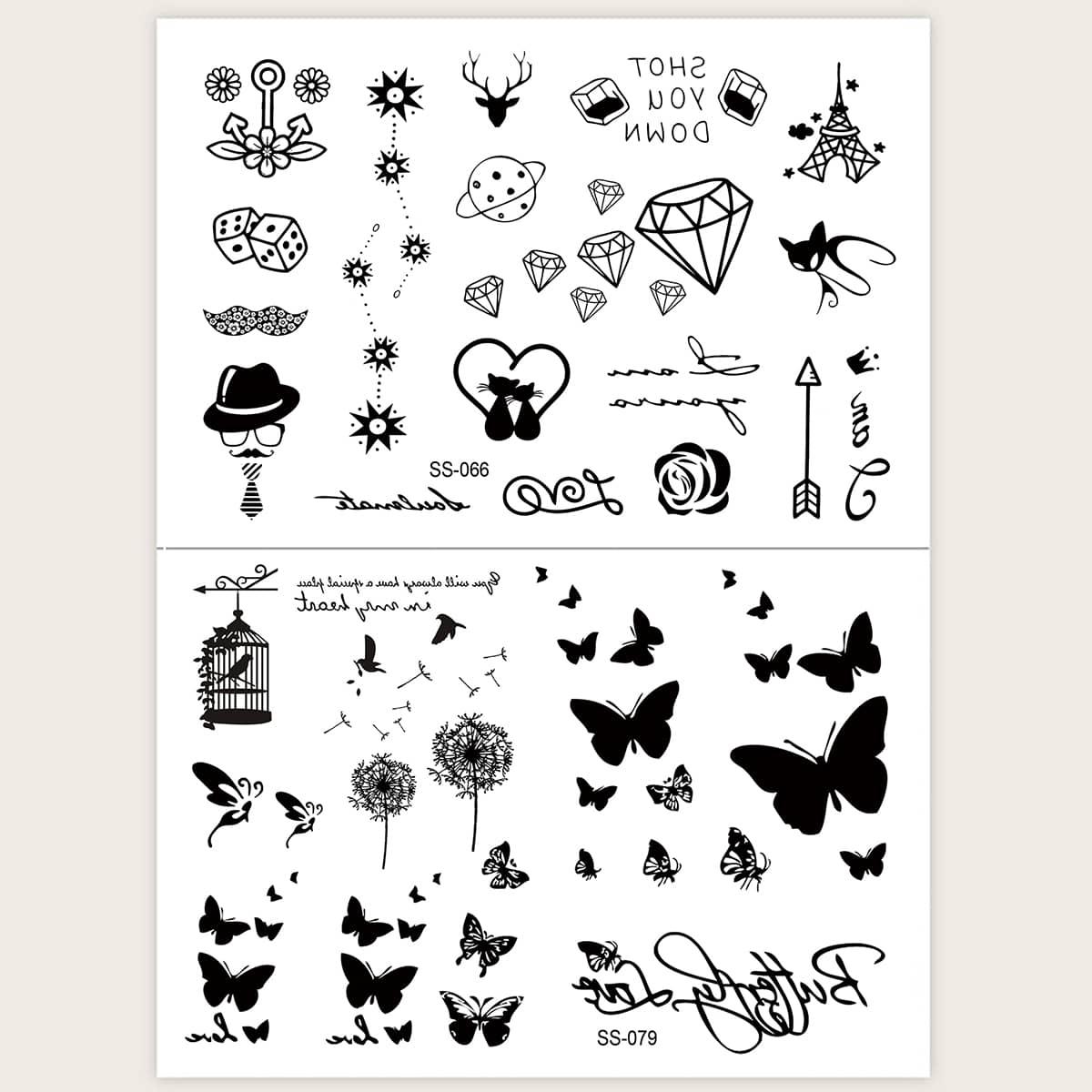 Autocollant de tatouage avec motif de papillon 2 pièces