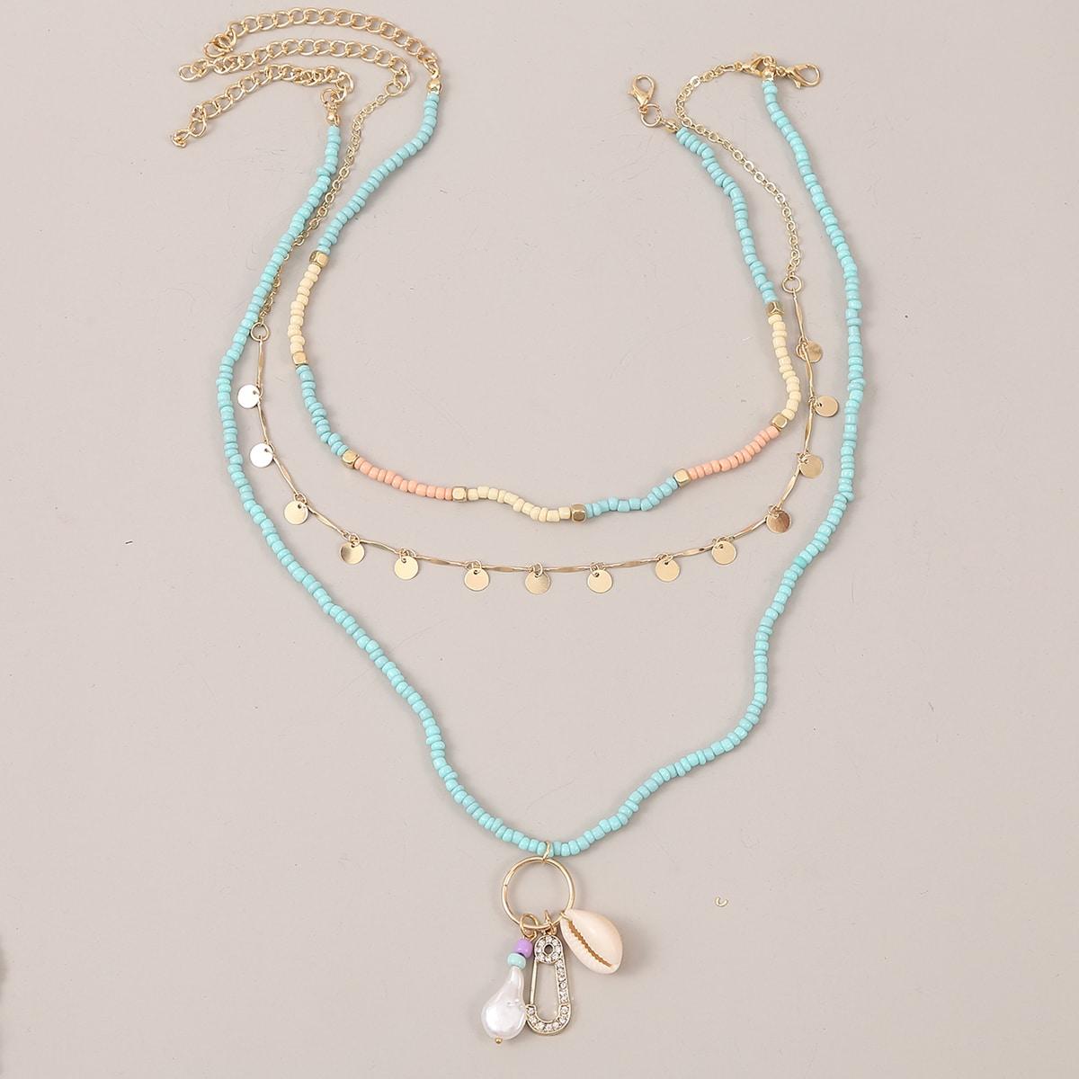 3 Stücke Halskette mit Schale Anhänger
