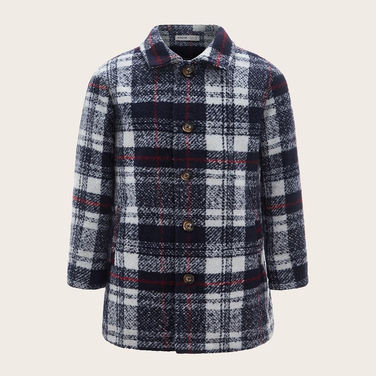Tweed Mantel mit Karo Muster