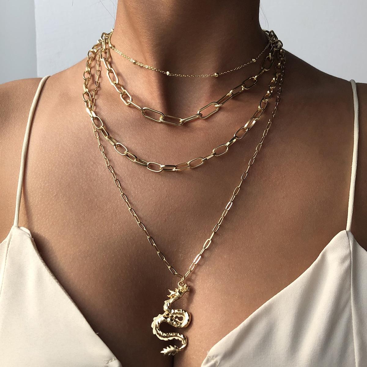 Halskette mit chinesischem Drache Anhänger und mehrschichtigen Ketten
