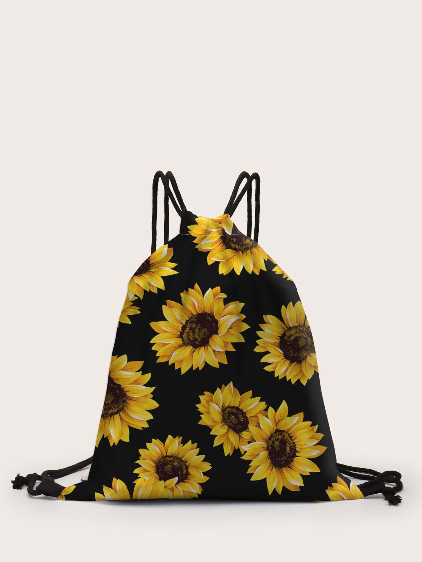3D Sunflower Print Drawstring Backpack thumbnail