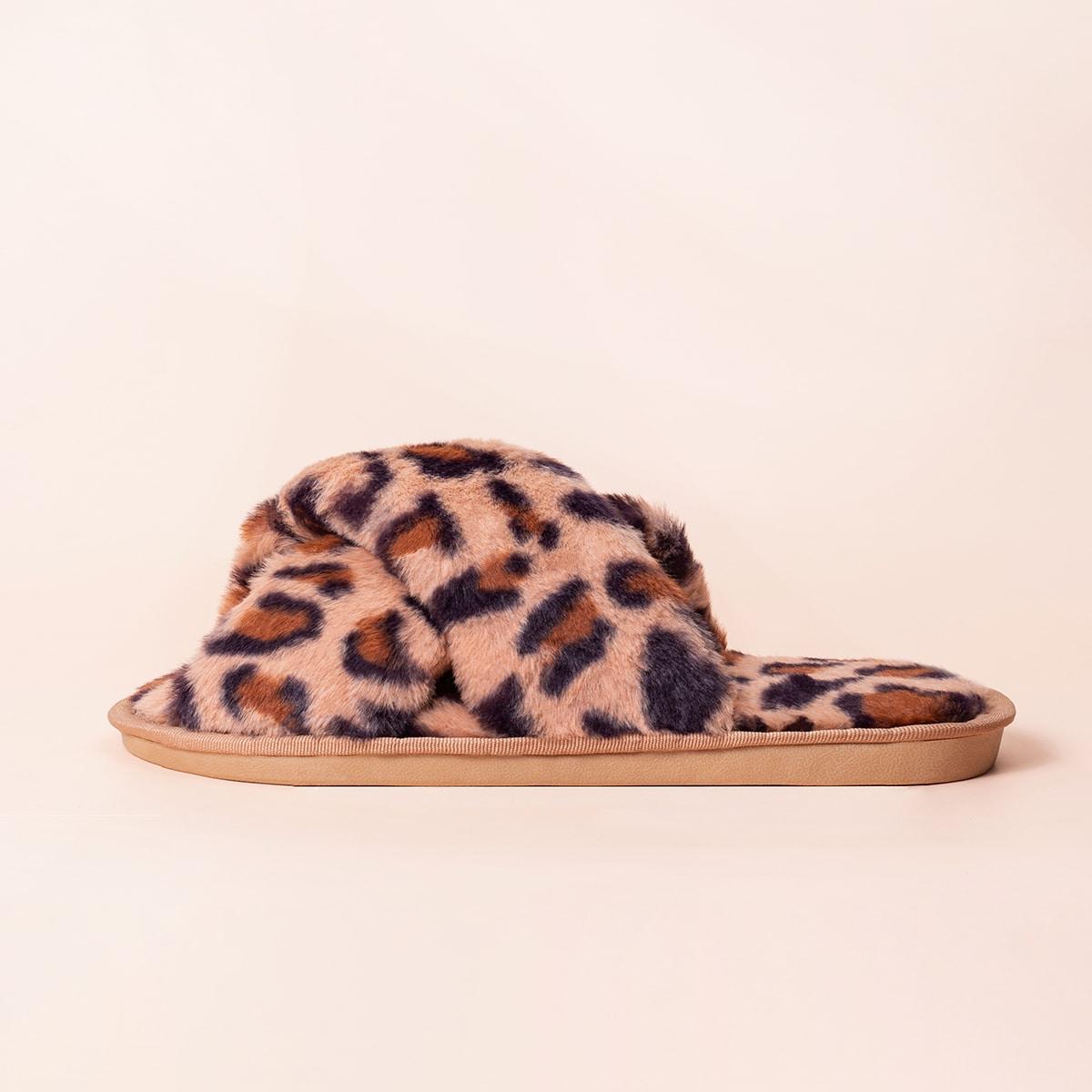Плюшевые шлепанцы с леопардовым принтом
