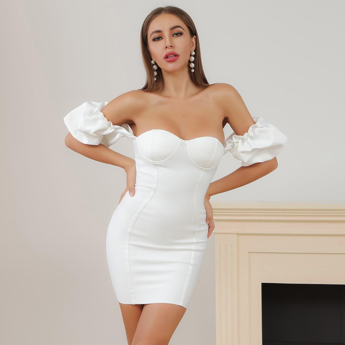 Lucra Облегающее платье с открытыми плечами и пышными рукавами