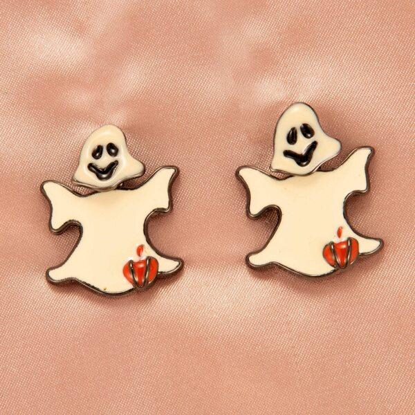 Серьги-гвоздики в форме призраков на Хэллоуин, Бежевые