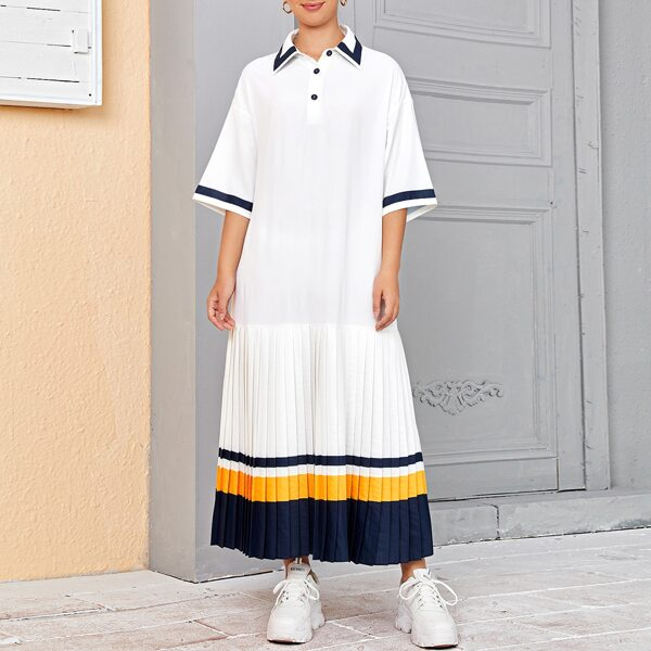 Collared Buttoned Half Placket Pleated Hem Colorblock Dress, White