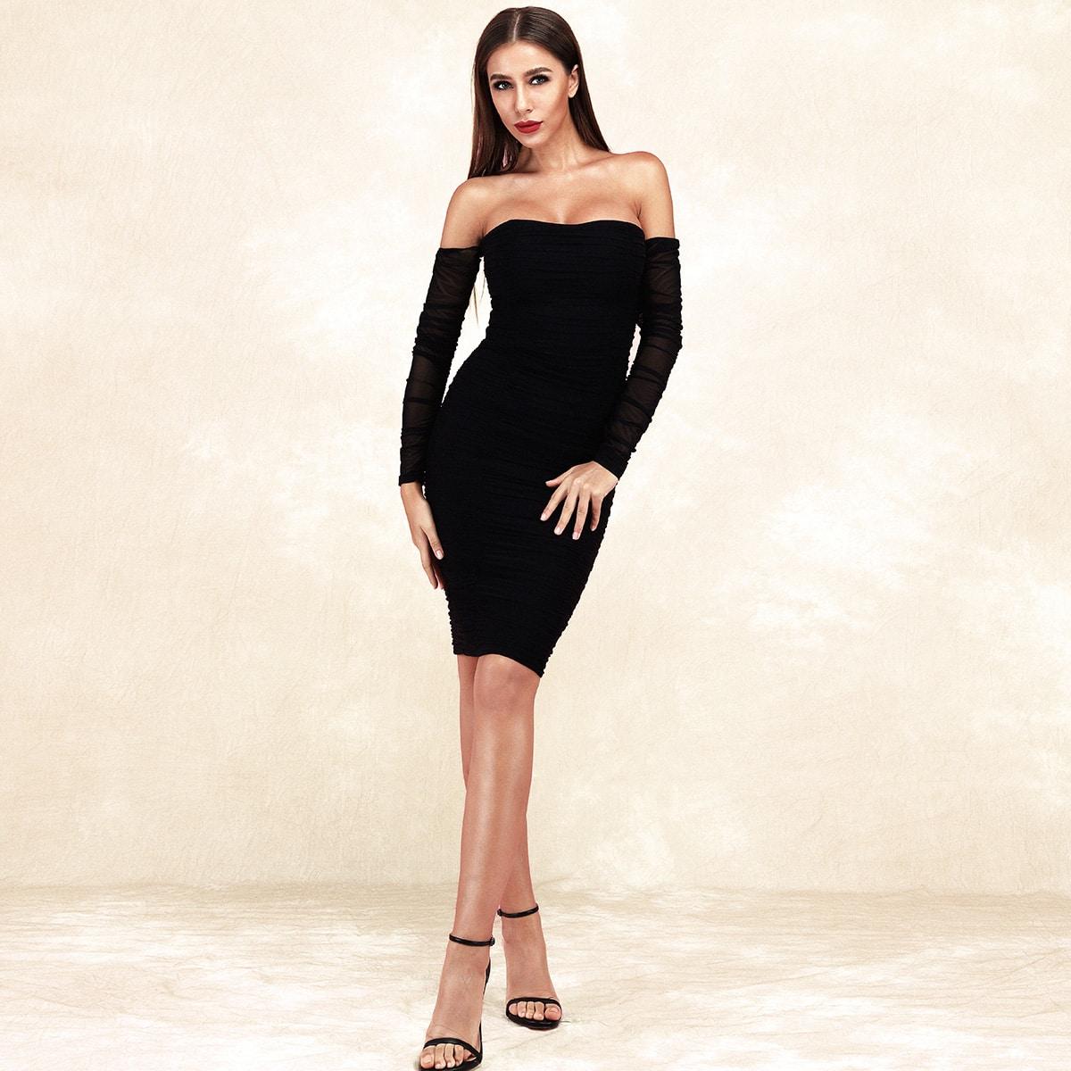Lucra Облегающее сетчатое платье с открытыми плечами