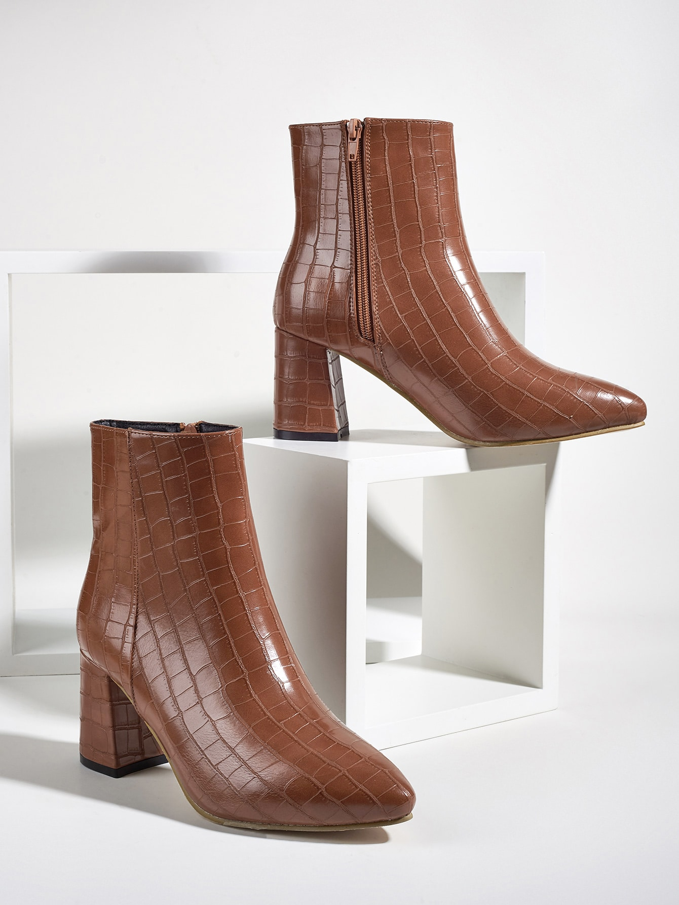 Croc Embossed Chunky Heeled Boots