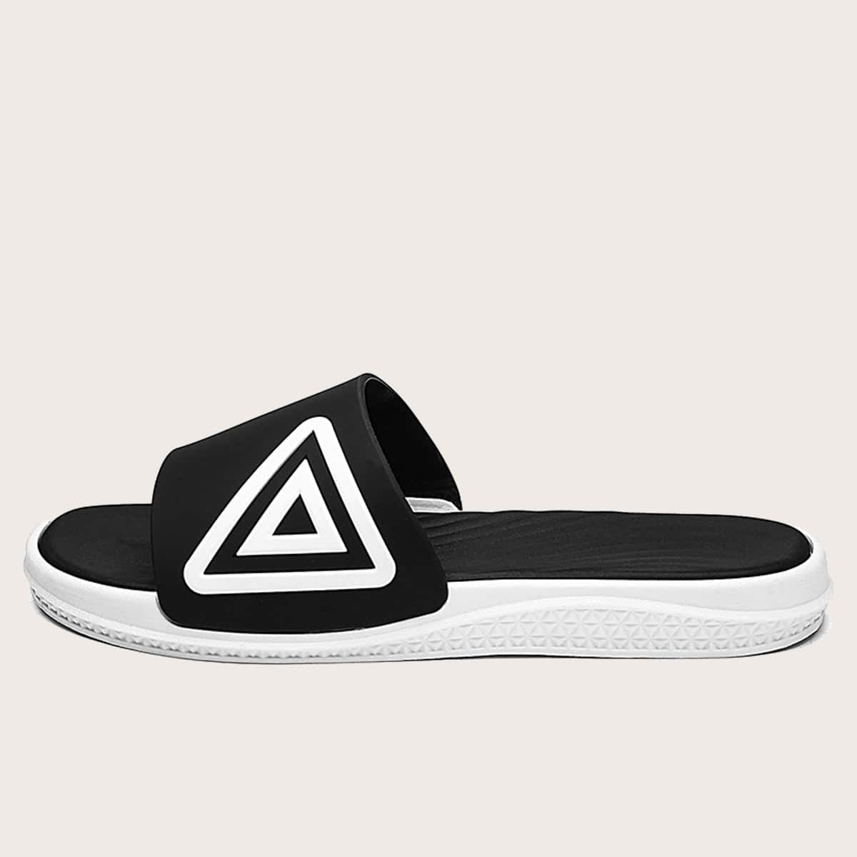 Men Triangle Graphic Wide Fit Slides