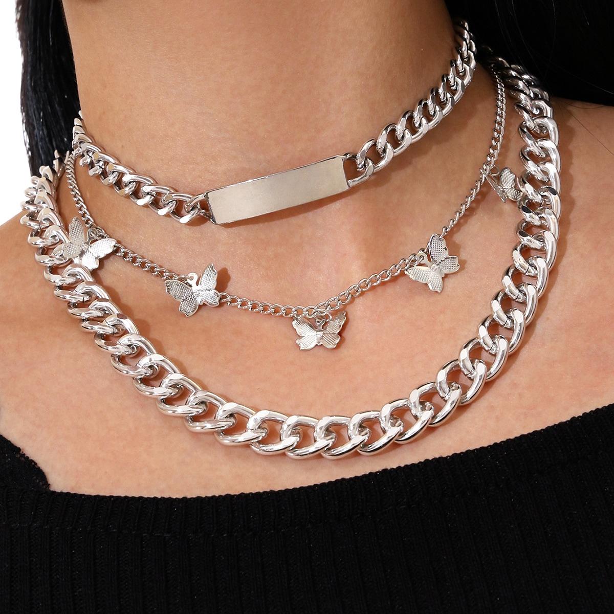 3 Stücke Halskette mit Schmetterling Anhänger und Kette