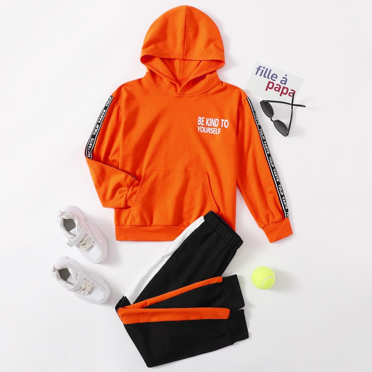Толстовка с текстовым принтом и спортивные брюки для мальчиков