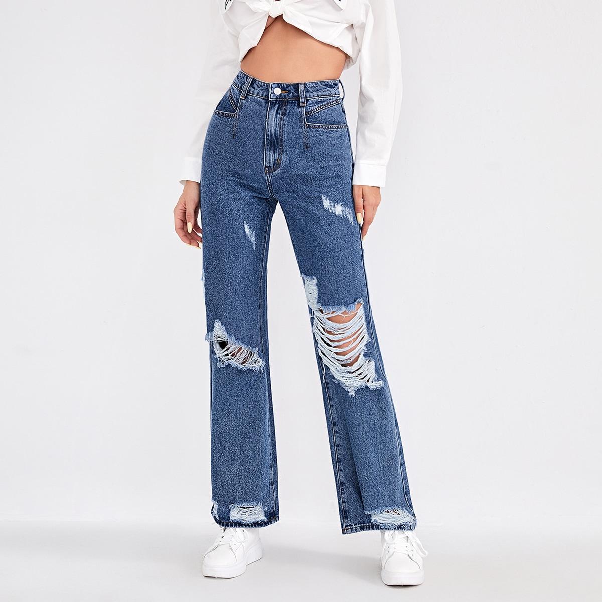 Рваные широкие джинсы