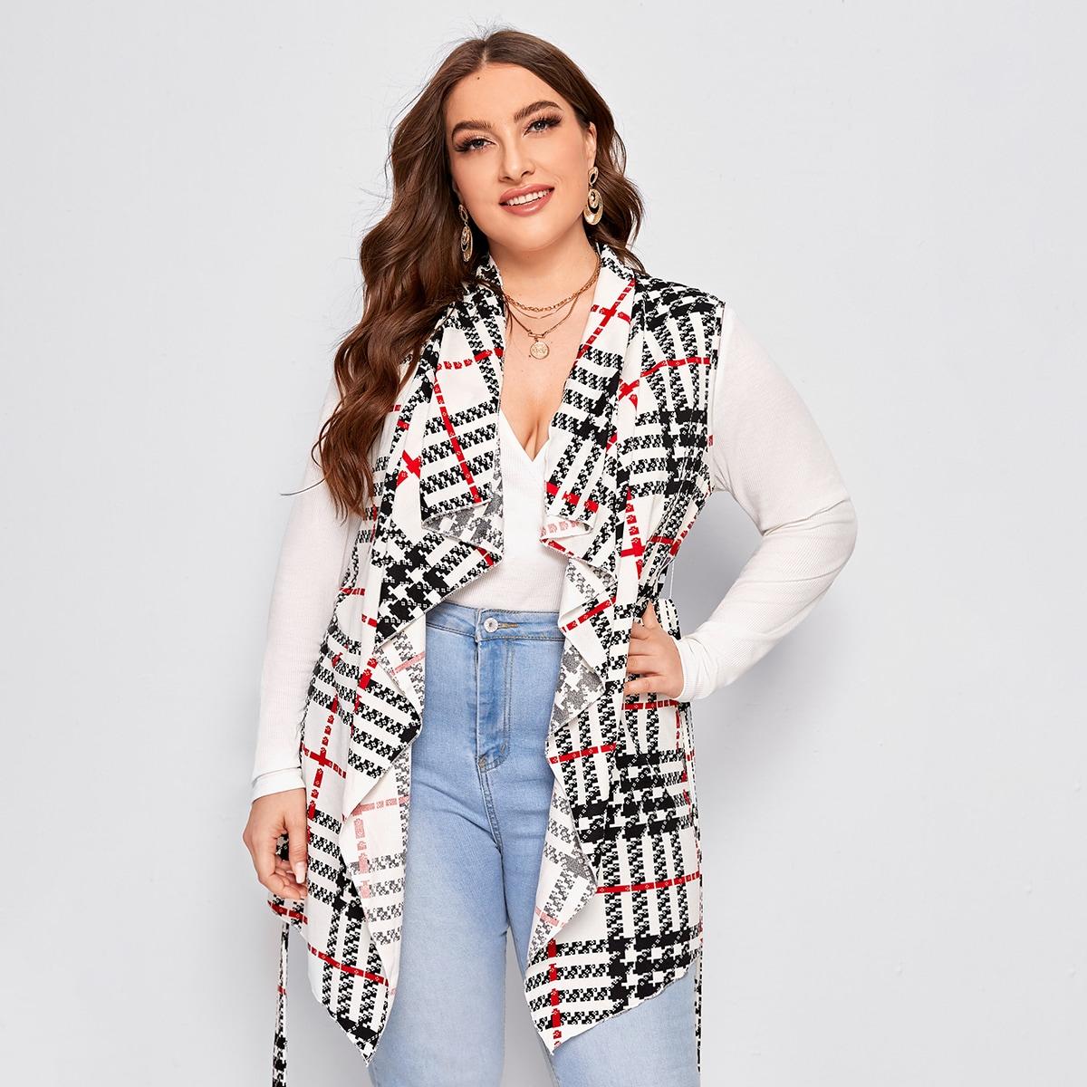 Асимметричное пальто-жилет размера плюс с поясом