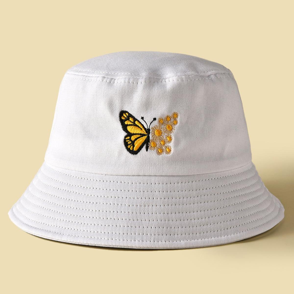 Шляпа с вышивкой бабочки