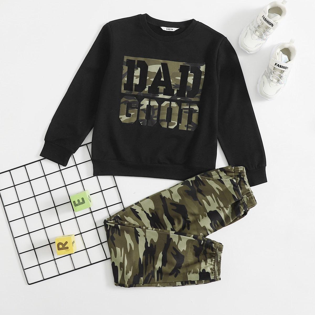 Пуловер с текстовым принтом и спортивные брюки с камуфляжным принтом для мальчиков