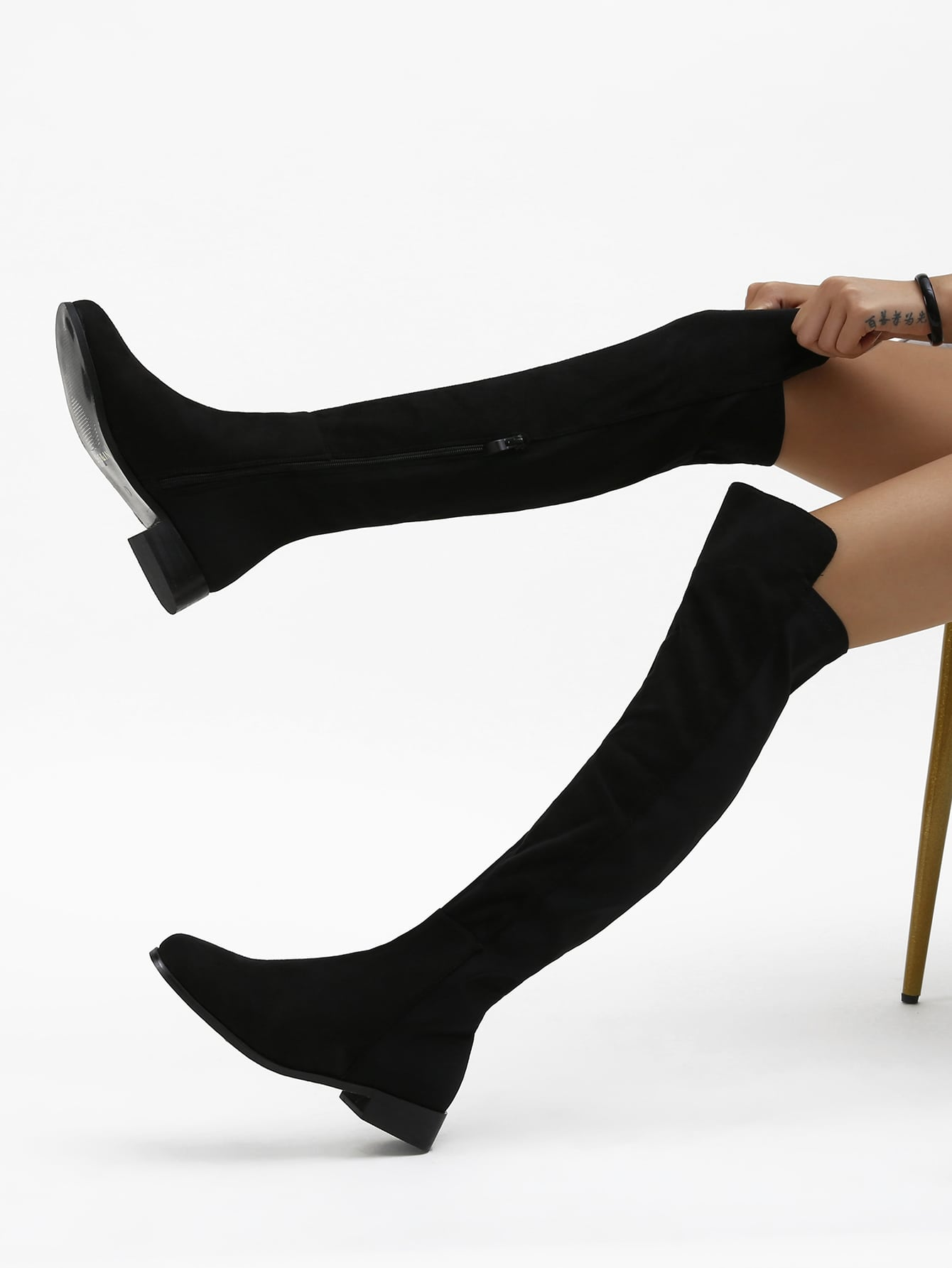 Faux Suede Over-The-Knee Zipper Boots
