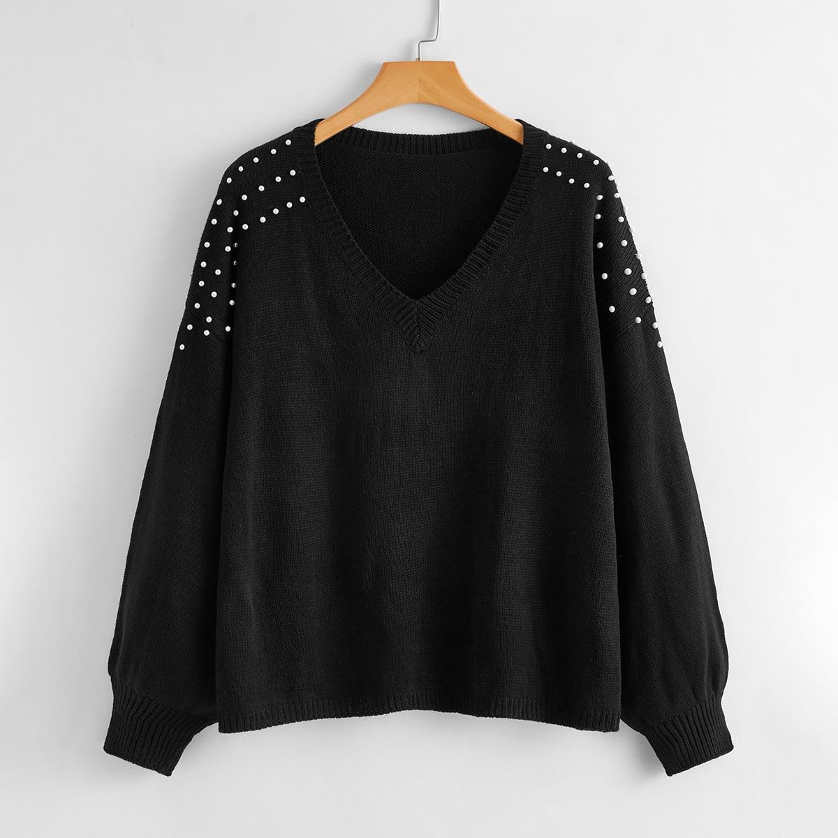 Однотонный свитер размера плюс с бусинами