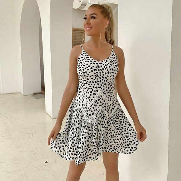 Ruffle Hem Lace Insert Dalmatian Cami Dress, Black and white