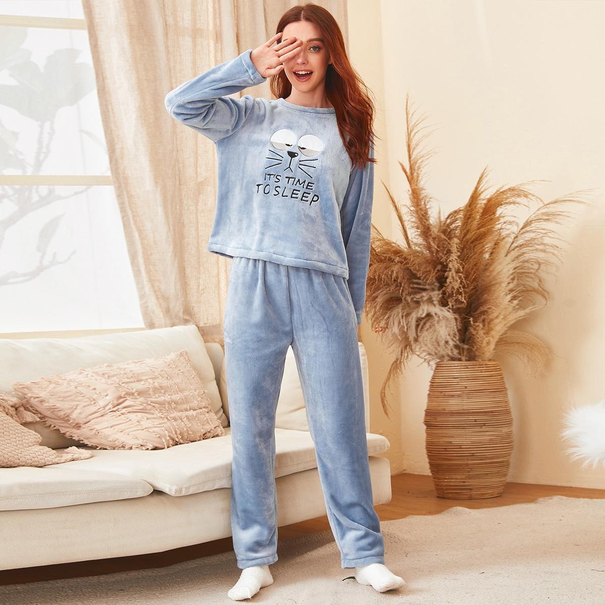 С вышивкой мультяшный принт милый пижама