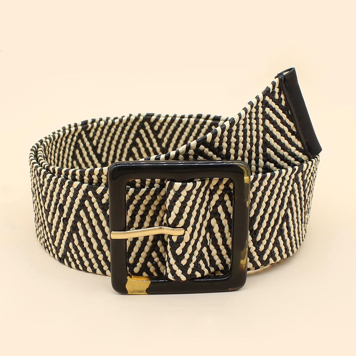 Плетеный ремень с квадратной пряжкой