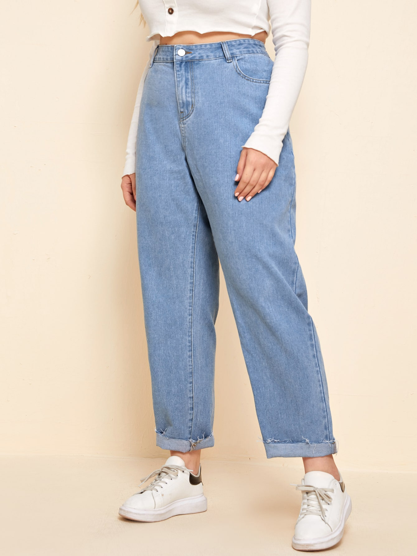 Plus Solid Raw Hem Mom Jeans thumbnail