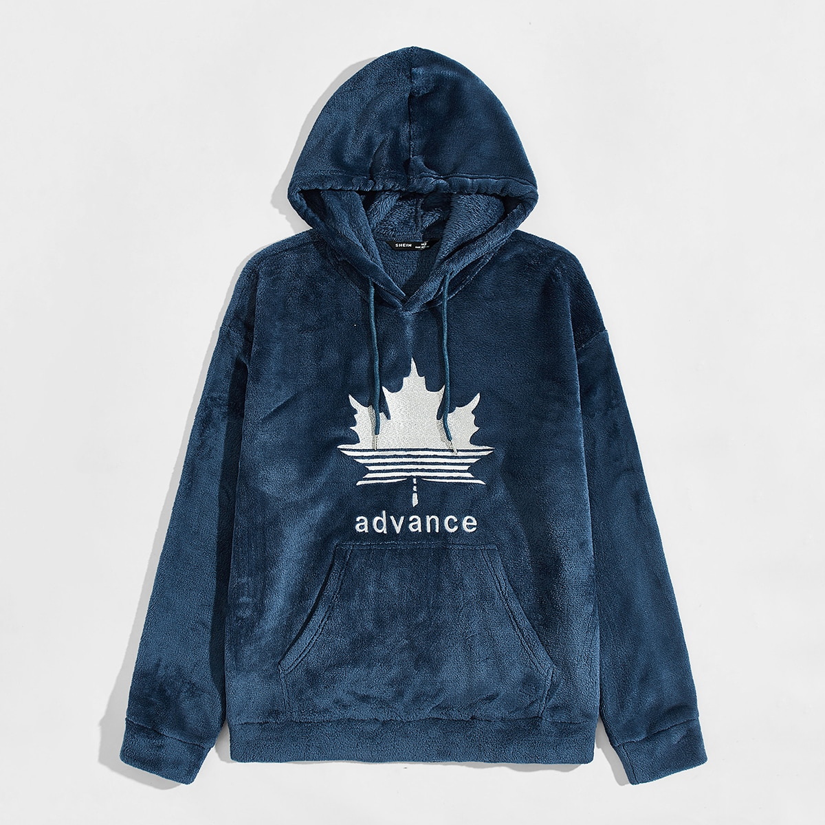 Men Maple Leaf & Letter Embroidery Fleece Hoodie