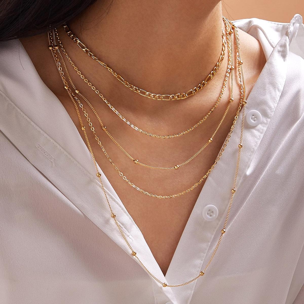 Многослойное ожерелье с бусами 1шт от SHEIN