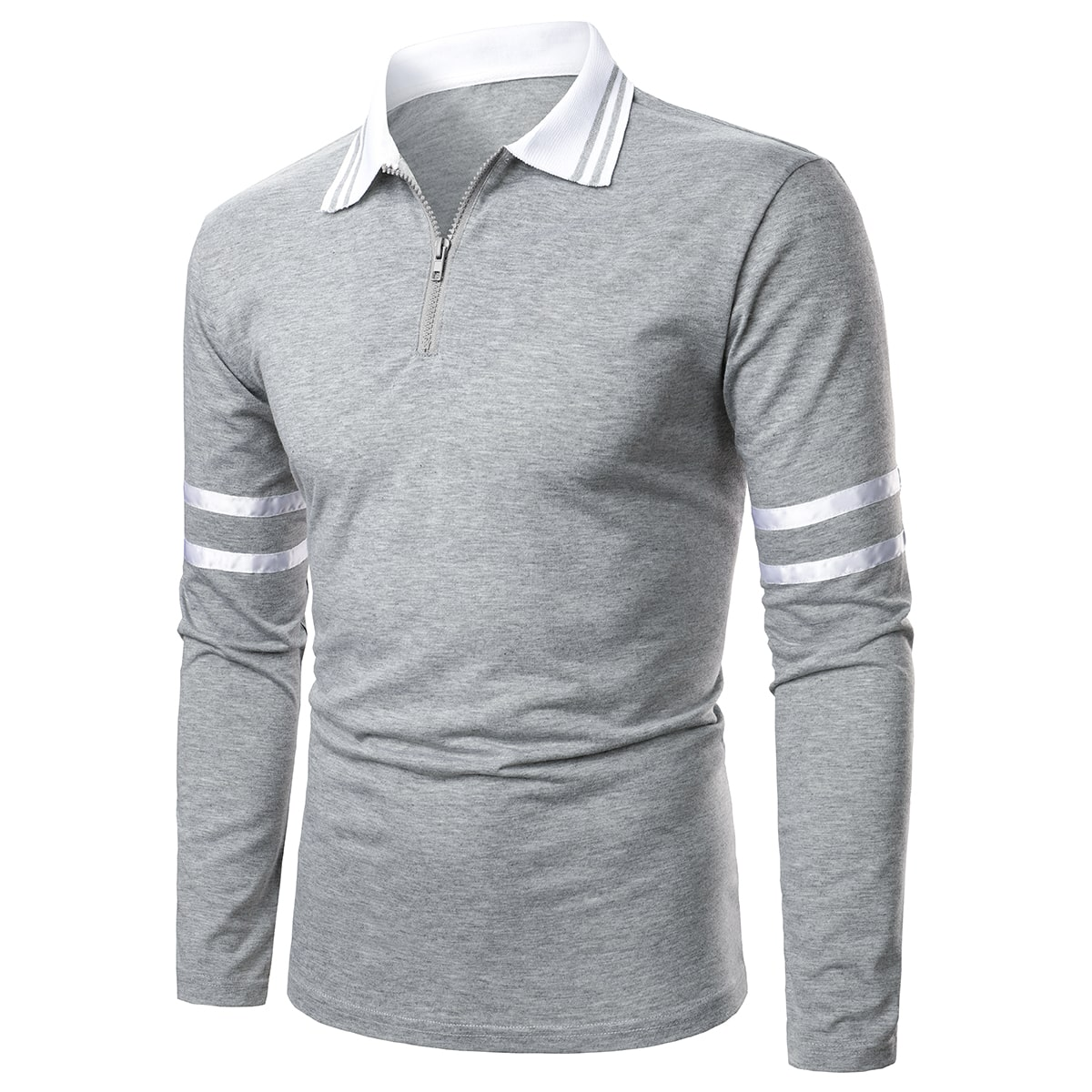 Men Striped Zipper Front Polo Shirt